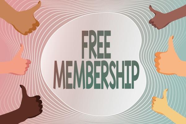 conceptual display free membership internet concept