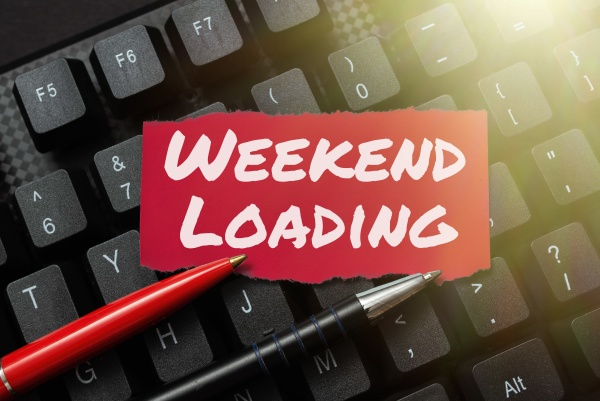 text caption presenting weekend loading business