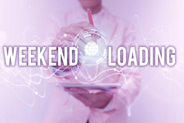 text caption presenting weekend loading word