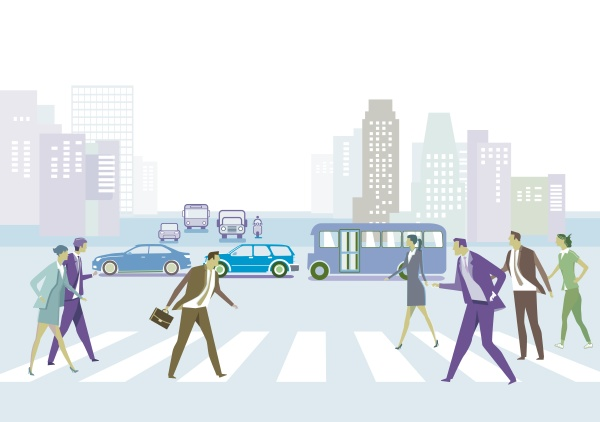 city silhouette with pedestrians on the