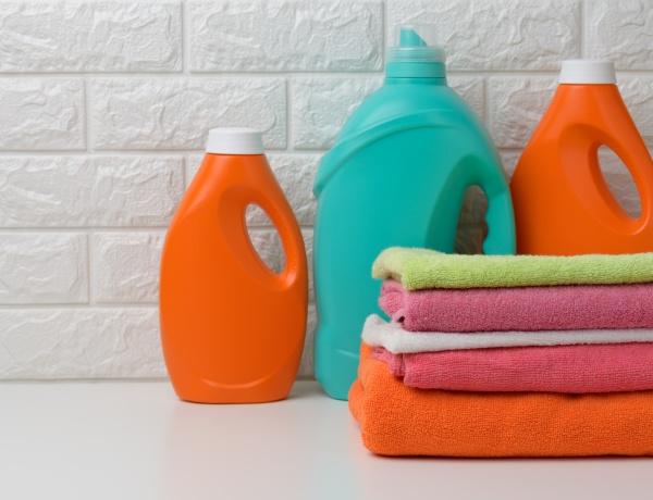plastic bottles with liquid detergent and