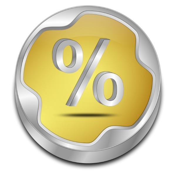 discount button golden 3d illustration