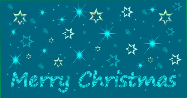 merry christmas card with stars blue