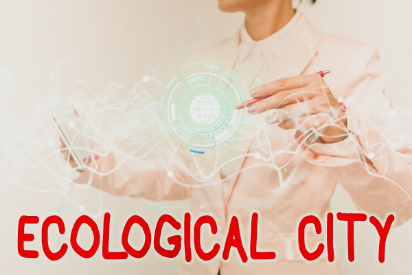 handwriting text ecological city concept