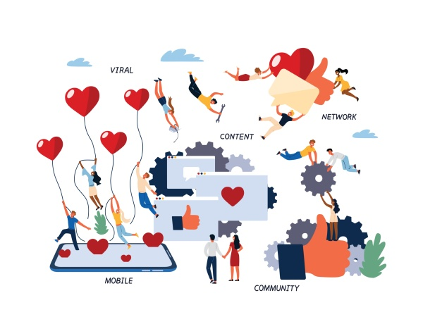 concept of social media marketing smm