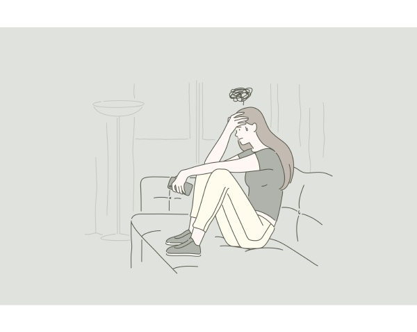 concept of a young upset woman