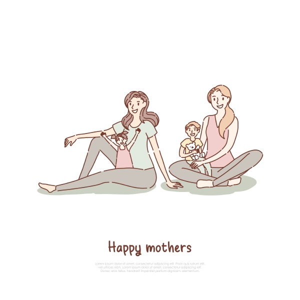 happy mothers with children at yoga