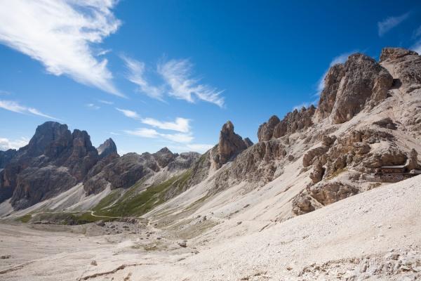 dolomites landscape trekking path to passo