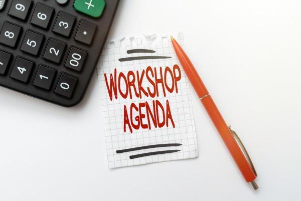 text caption presenting workshop agenda business