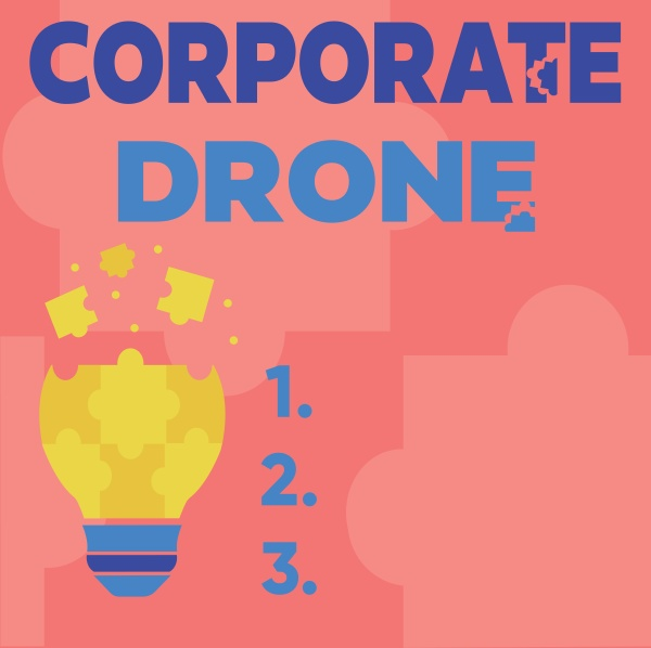 text sign showing corporate drone business