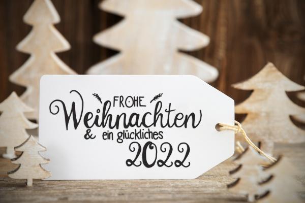 white christmas tree label glueckliches 2022