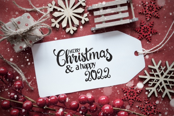 red christmas decoration label merry christmas