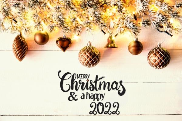 golden christmas decoration fir branch merry