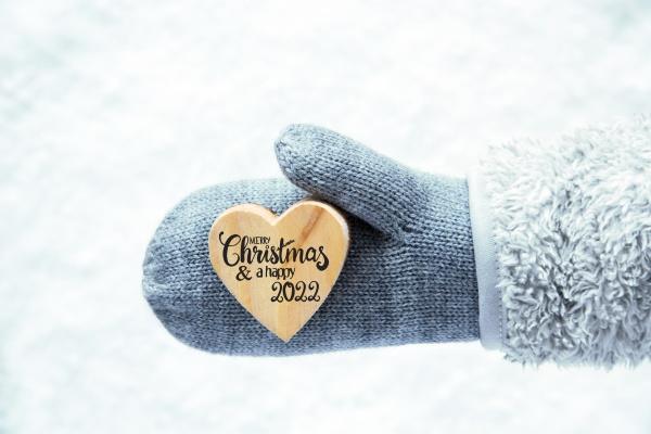 glove fleece snow heart merry christmas