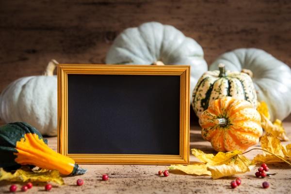 autumn pumpkin decoration copy space golden