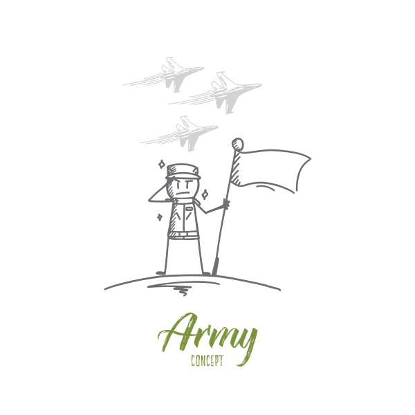 hand drawn soldier standing with flag