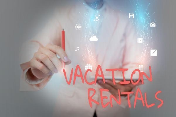 conceptual display vacation rentals word