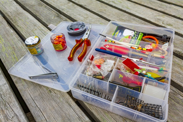 fishing equipment with box on a