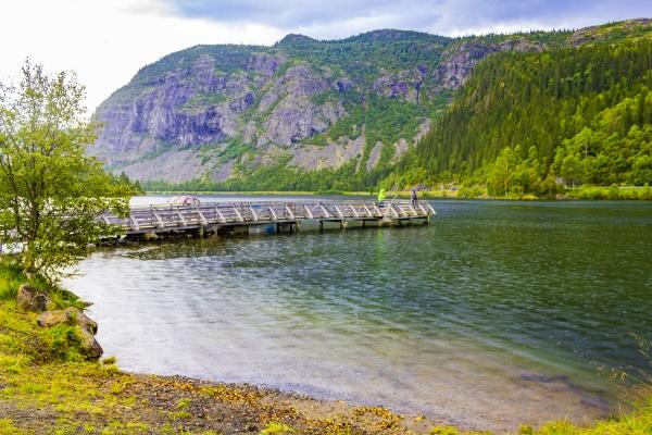 mountain landscape panorama and lake vangsmjose