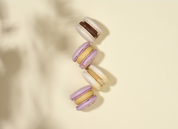 baked macarons with different flavors on