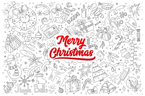 merry christmas doodle set with lettering