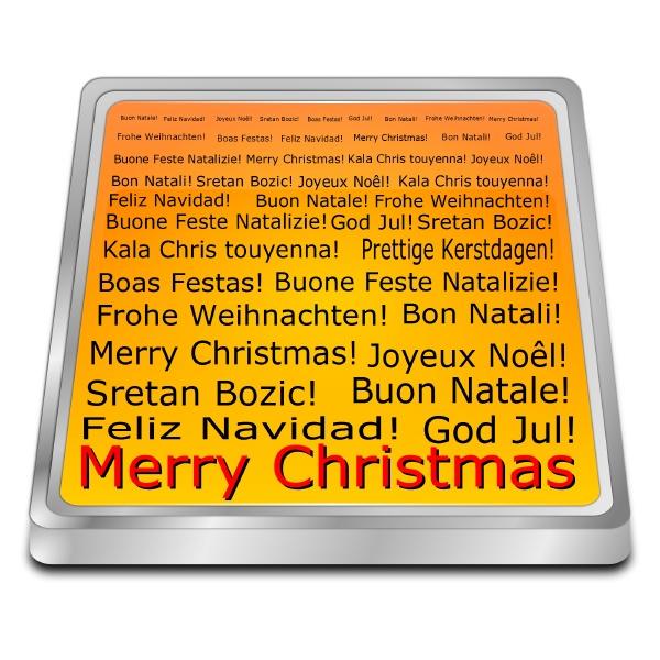 merry christmas wordcloud orange 3d