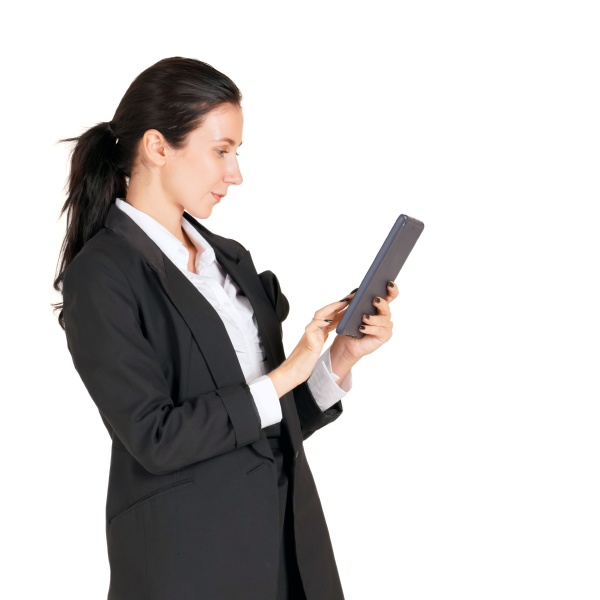 caucasian businesswoman in black suit typing