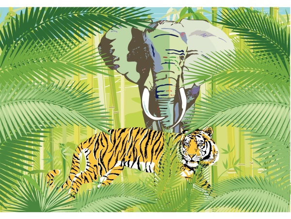 tropical jungle with elephant and tiger