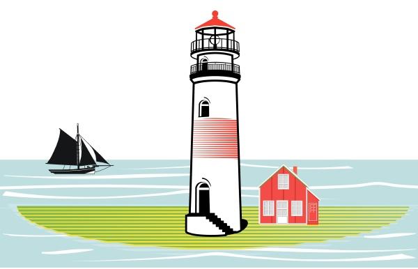 lighthouse on an island and sailing