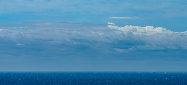 panoramic view of bright blue sea