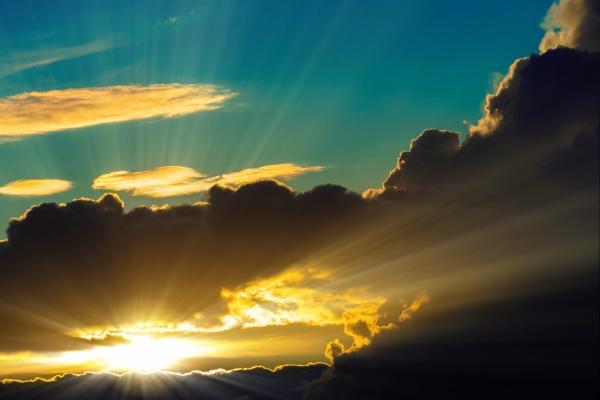 sunbeam through the clouds haze on