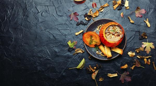 mushroom soup in pumpkin space for