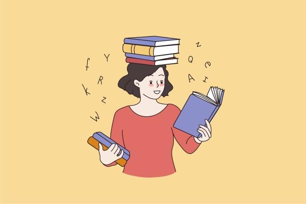smart girl reading books preparing for