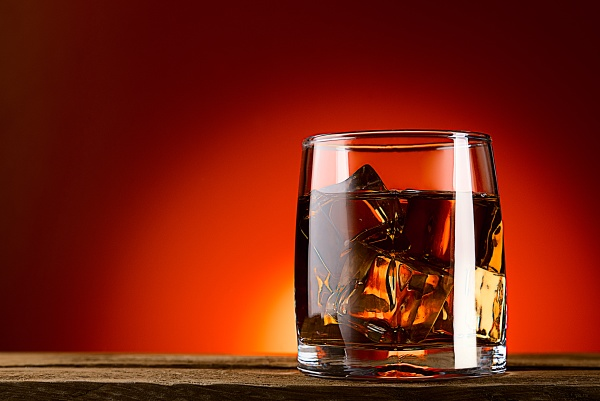 a glass of whiskey or cognac