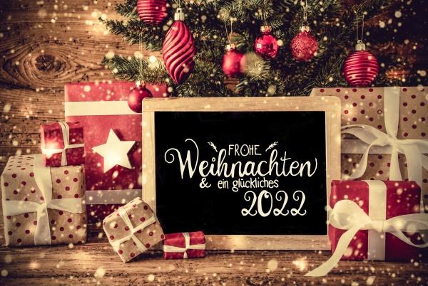 christmas tree gift snowflakes text glueckliches
