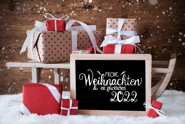 sleigh gift snow snowflakes glueckliches 2022