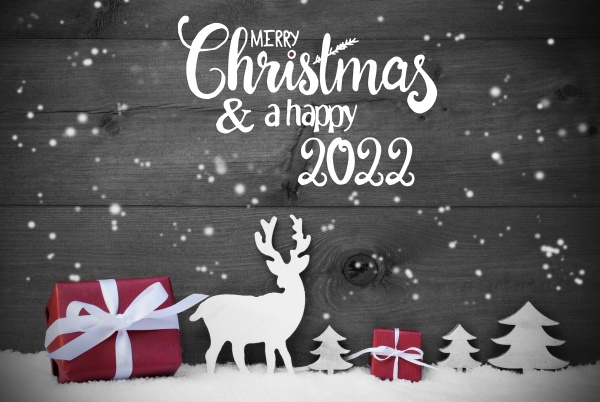 reindeer gift tree snowflakes merry christmas