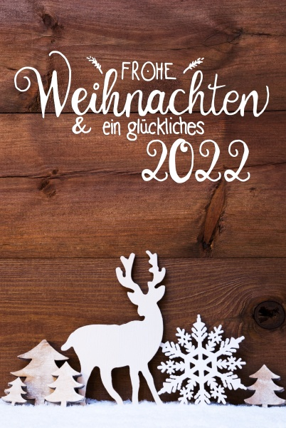 christmas tree snow deer glueckliches 2022