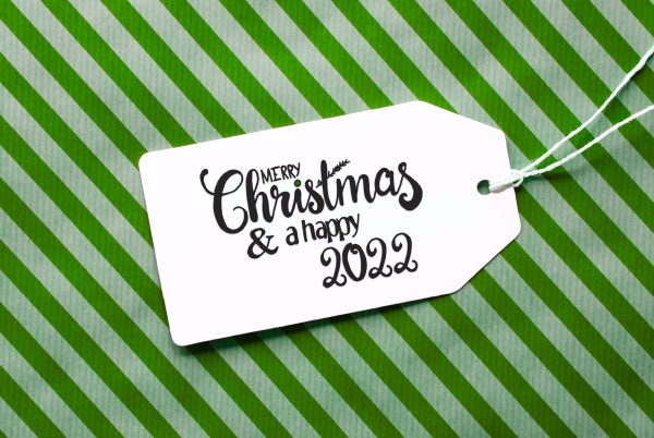green wrapping paper label merry christmas