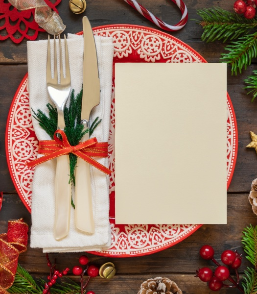 festive table setting of with fir