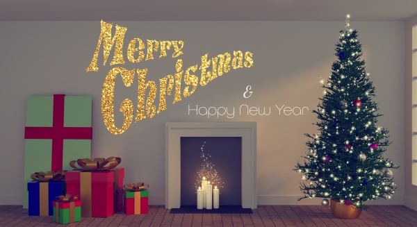merry christmas in gold glitter with