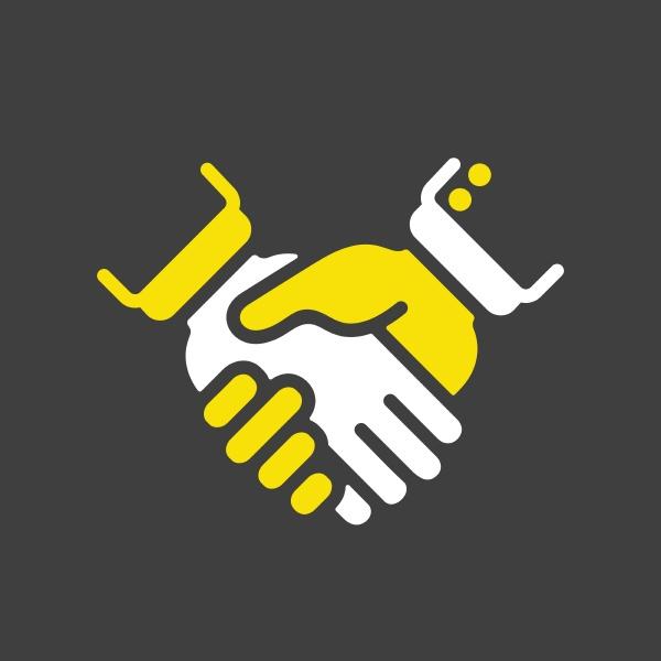 business handshake or contract agreement flat