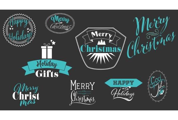 set of decorative christmas label on