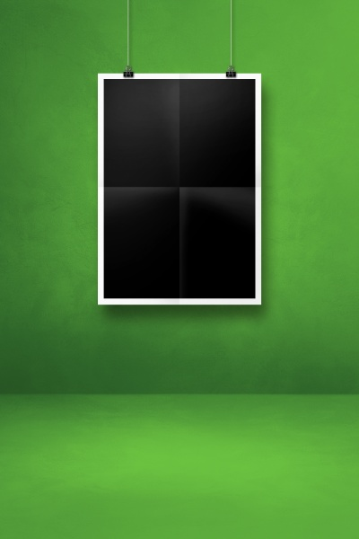black folded poster hanging on a