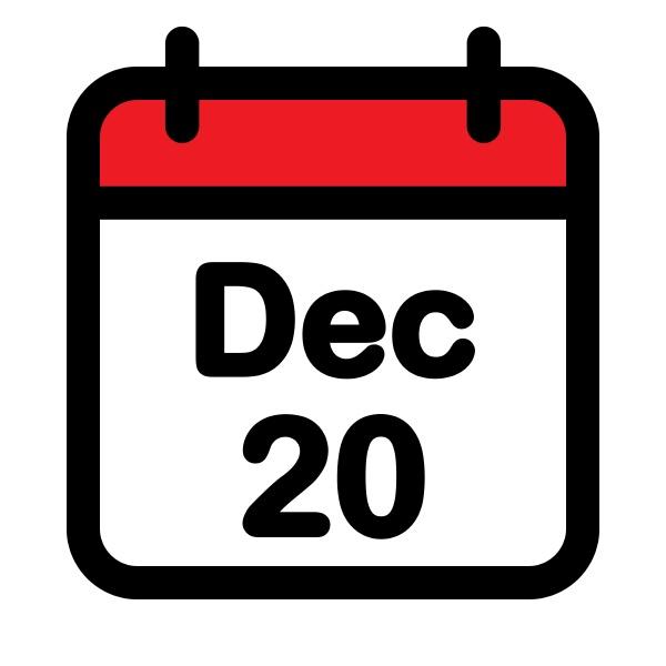 december twentieth calendar icon