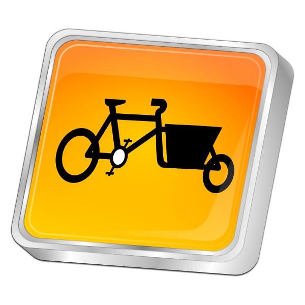 button with cargo bike orange