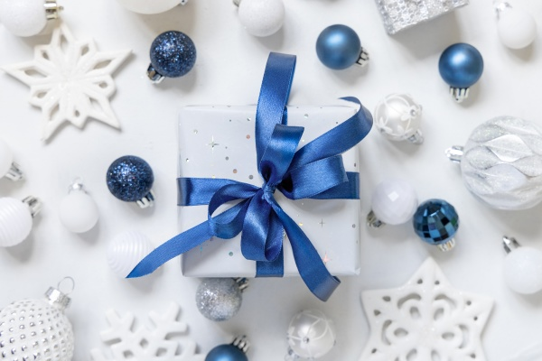 christmas present with blue bow and