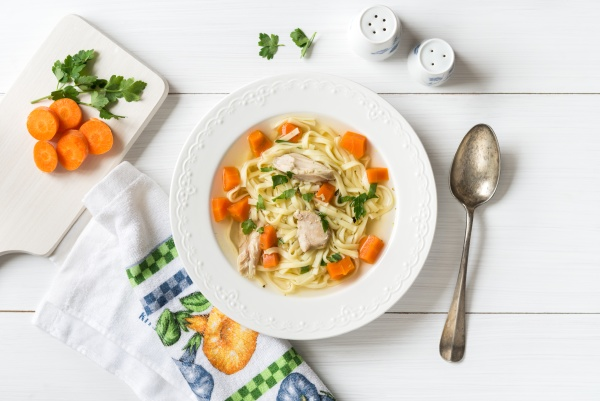 top view of chicken soup with