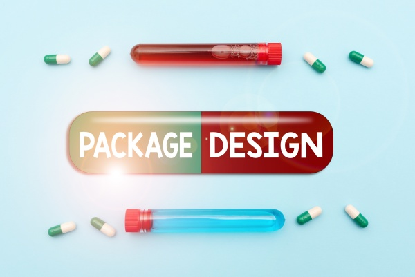 text sign showing package design