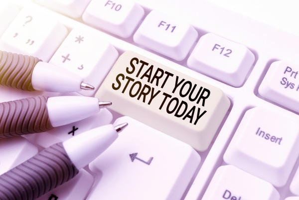 handwriting text start your story today